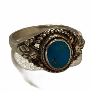 Sterling Silver Genuine Turquoise Ring Size 7